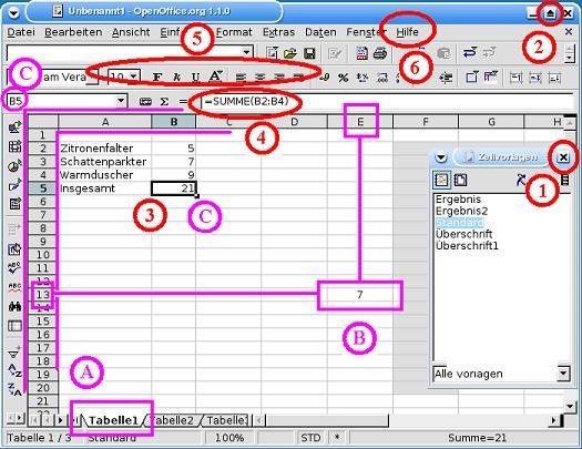 Tabellenkalkulation mit openoffice calc for Tabelle open office